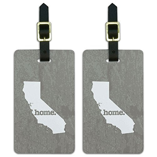 Graphics & More California Ca Home State Luggage Suitcase Id Tags-Textured Warm Grey Gray, White