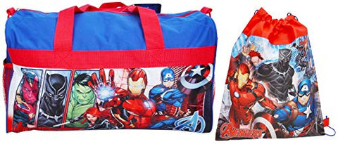 Marvel / Avengers Duffel Travel Bag & Sling Bag Iron Man Black Panther Print
