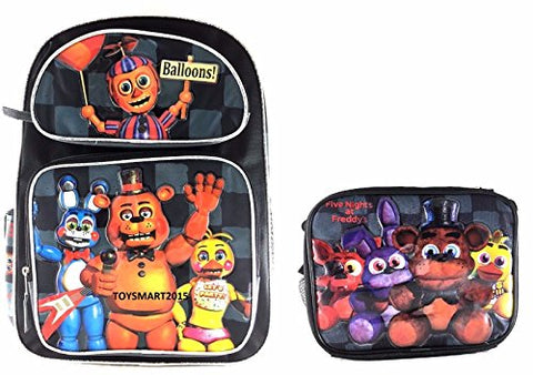 "Five Nights at Freddy's Large Backpack 16"" Boys School Book Bag Plus Lunch Bag"