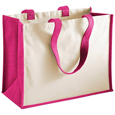 Westford Mill Printers Jute Classic Shopping Bag - 5 Colours Available - Fuchsia