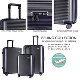 TPRC 3 Piece Multi-Tone Eye-Catching Design Hardside Luggage Set with TSA Lock, Black with Purple Color Option