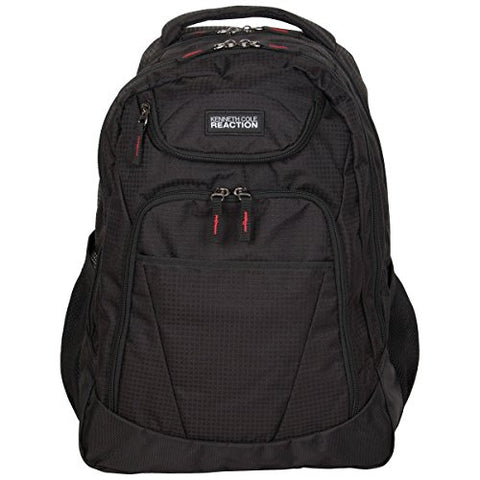 "Kenneth Cole Reaction 1680d Polyester and Shadow Ripstop Double Gusset 17"" Computer Backpack, Black, One Size"