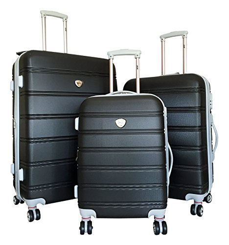 3Pc Luggage Set Suitcase Hardside Rolling 4Wheel Spinner Upright Carryon Travel Black