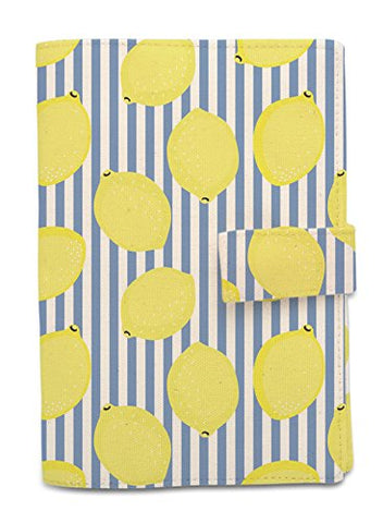 Lemon With Striped Pattern Printed Canvas Passport Holder Cover Case Was_11