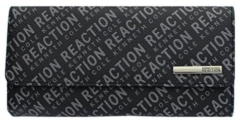 Kenneth Cole Reaction Womens Saffiano Clutch Wallet Trifold W Coin Purse (PRINTED 2 TONE BLACK)