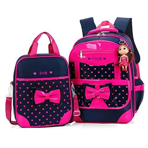 Efree 2 pcs Girl's Polka Dot Cute Bow Princess Pink School Backpack Girls Book Bag (Rose)