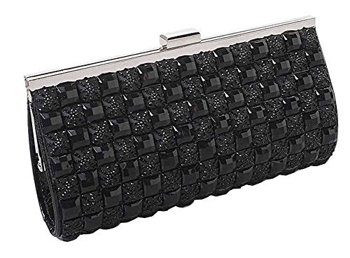 Double Sided Rhinestones Clutch Bag, with The Detachable Chain [Black]