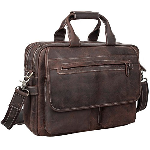 S-Zone Crazy Horse Leather Shoulder Briefcase For 16 Inch Laptop Bag