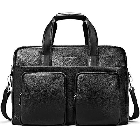 "BOSTANTEN Leather Briefcase Messenger Business Bags 17"" Laptop Handbag for Men"