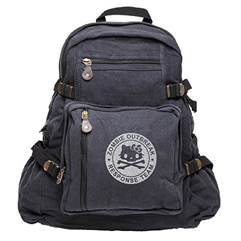 Zombie Outbreak Response Team Hello Kitty Backpack Bag, Black & Silver (large)