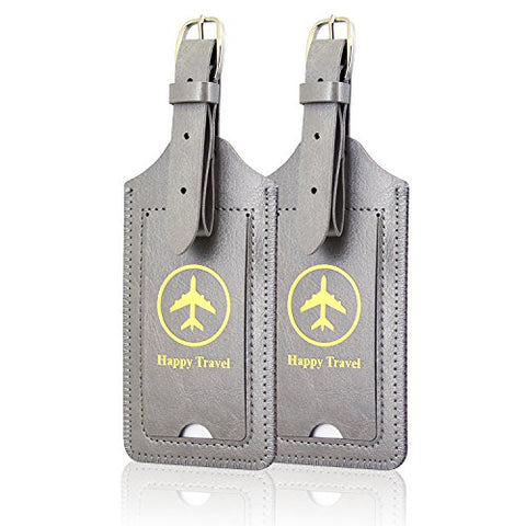 Luggage Tags, Acdream Leather Case Luggage Bag Tags Travel Tags 2 Pieces Set (Grey)