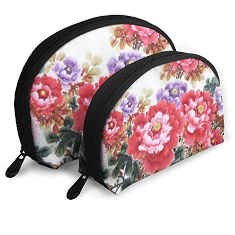 Zipper Toiletry Organizer Travel Makeup Clutch Bag Watercolor Peony Flower Portable Bags Clutch