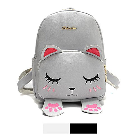 Mini Backpack For Girls Cute Cat Design Fashion Leather Bag Women Casual Fashion(Grey)