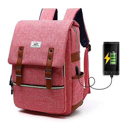 Business Canvas Laptop Backpack With Usb Charging Port School College Shoulder Bag By Yaagle