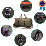 Iblue Genuine Leather Trim Travel Tote Duffel Garment Gym Shoulder Handbag Canvas Overnight