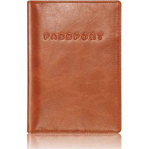 "Kavaj Leather Passport Holder Case ""Rome"" Cognac - Rfid Blocking Cover Wallet Genuine Leather Women"
