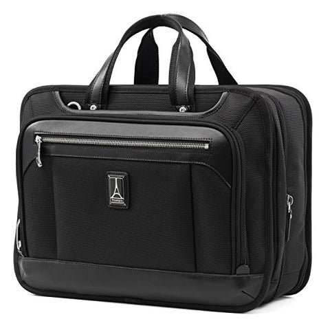 "Travelpro Luggage Platinum Elite 16"" Expandable Business Briefcase, Shadow Black, One Size"