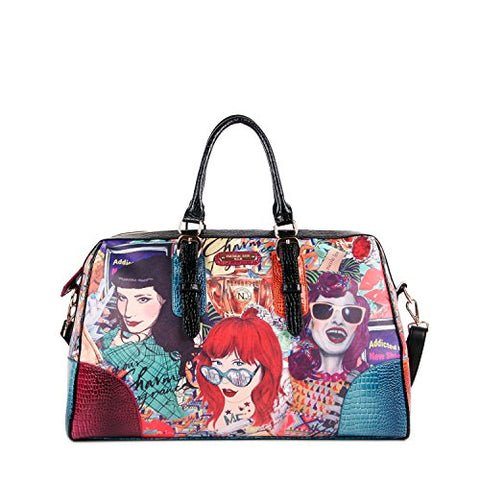 Nicole Lee Shelby Retro Print Overnighter, Punky, One Size