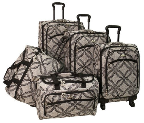 American Flyer Luggage Silver Clover 5 Piece Set Spinner, Black Gray, One Size