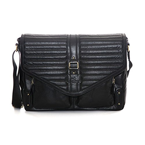 "Jill-E Designs Veronica 15"" Leather Laptop Bag, Black (419392)"