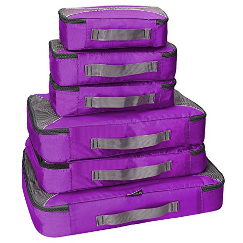 G4Free Packing Cubes 6pcs Set Travel Accessories Organizers Versatile Travel Packing Bags(Purple)