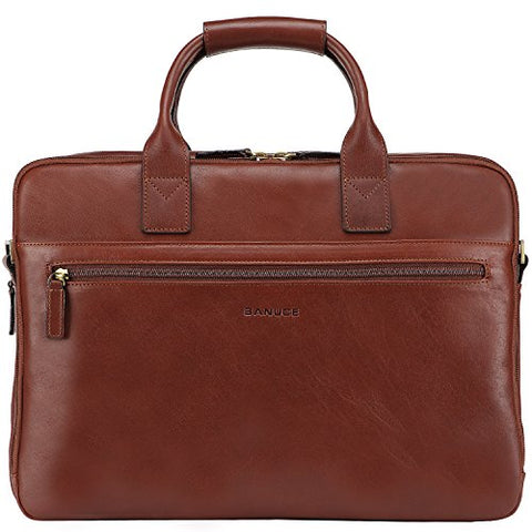 "Banuce Vintage Full Grain Italian Leather Briefcase for Men Business Attache Case 14"" Laptop Tote"