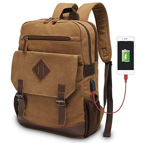 Vintage Backpack for Men, Modoker Canvas College School Messenger Rucksack Bookbag, Multipurpose