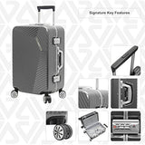 "Andiamo Elegante Aluminum Frame 20"" Carry On Zipperless Luggage With Spinner Wheels (20in, Black Pearl)"