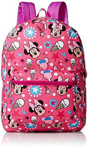 Disney Girls' Minnie Mouse All Over Print Backpack, Multi