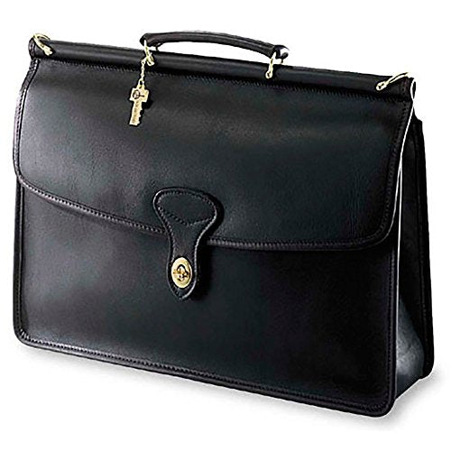Jack Georges Unisex [Personalized Initials Embossing] University Single Gusset Flap Over Leather Briefcase in Black