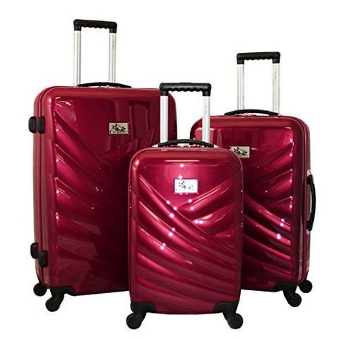 Chariot Veneto 3 Piece Hardside Lightweight Upright Spinner Luggage Set, Raspberry, One Size