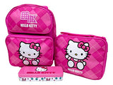 "Hello Kitty Preschool Medium 12"" Rolling Backpack Roller Wheeled Book Bag, Lunch Box & Pencil"