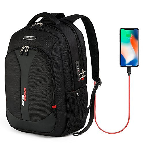 Crossgear Anti Theft Waterproof Business Backpack With Usb Charging Port Causal School Travel