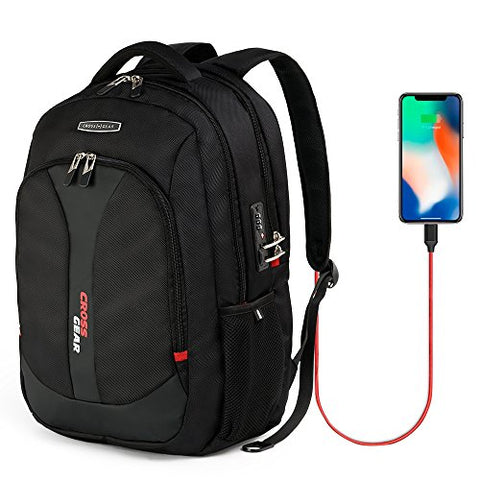Crossgear Anti Theft Waterproof Business Backpack with USB Charging Port Causal School Travel Backpack with lock 15.6 inch Laptop/Notebook CR-9617I