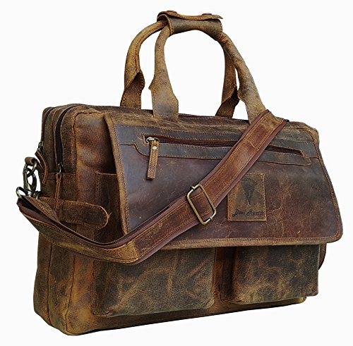 Devil Hunter 16 Inch Vintage Buffalo Leather Messenger Satchel Laptop Briefcase Men'S Bag Crazy