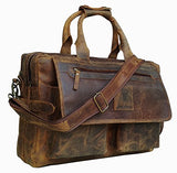 Devil Hunter 16 inch Vintage Buffalo Leather Messenger Satchel Laptop Briefcase Men's Bag Crazy Vintage Leather Messenger