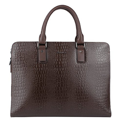 Banuce Genuine Leather Briefcase for Men Business Slim Laptop Attach Case Tote Menssenger Bag