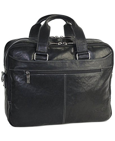 "Kenneth Cole New York""Take The Op-Port-unity""Crumpled Leather Double Gusset Top Zip Laptop Brief"