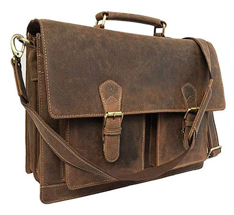 Leather Laptop Messenger Bag Vintage Briefcase Satchel for Men and Women- 16 Inch by Vintage