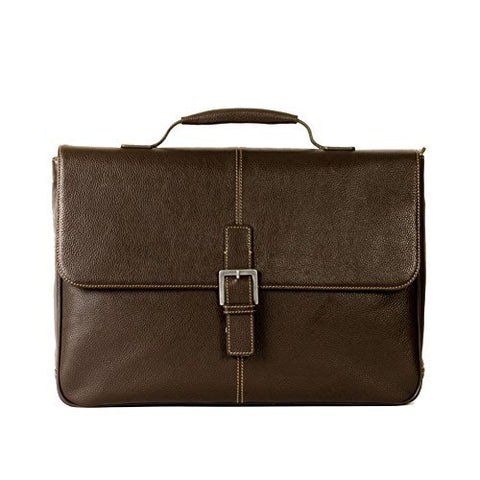 Boconi Tyler Tumbled Brokers Bag in Coffee w/Khaki