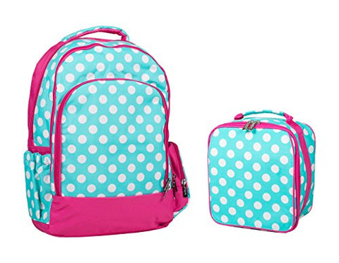 Reinforced Design Water Resistant Backpack And Lunch Bag Set (Aqua Dot)