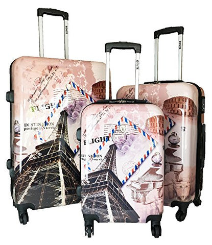 Rolite City Stamping Lightweigt 3-Pcs Expandable Hardshell Spinner Luggage Set (Flight)