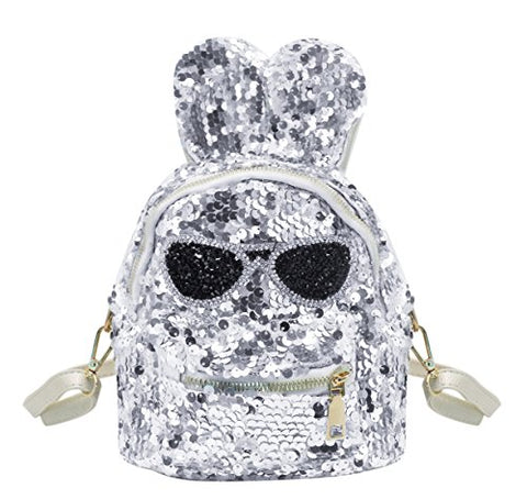 Aibearty Rabbit Ears Mini Backpack Sequins Rucksack Casual Bag
