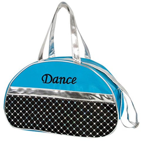 Half Moon Bag Sequined With Silver Metallic Trim And Embroidered Dance Duffel Bag