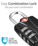 Tsa Approved Luggage Locks, Fosmon (4 Pack) Open Alert Indicator 3 Digit Combination Padlock