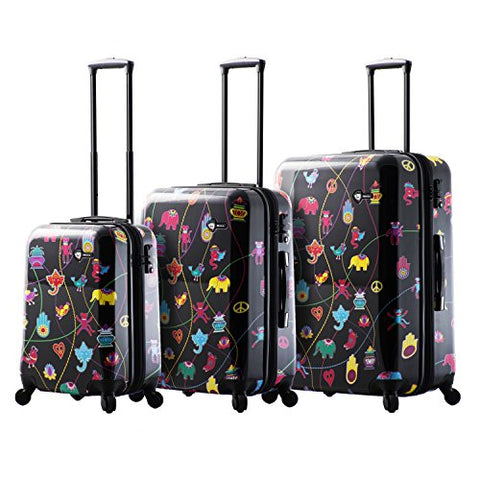 Mia Toro Mistico Hardside Spinner Luggage 3pc Set - Black
