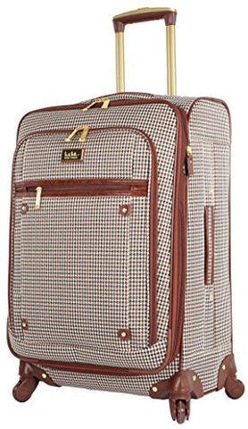 "Nicole Miller Luggage Large 28"" Expandable Softside Suitcase With Spinner Wheels (28 in, Brown Plaid)"