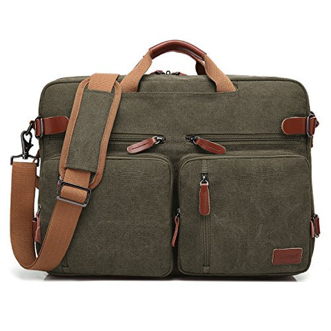 CoolBELL Convertible Backpack Messenger Bag Shoulder bag Laptop Case Handbag Business Briefcase Multi-functional Travel Rucksack Fits 17.3 Inch Laptop For Men/Women (Canvas Green)