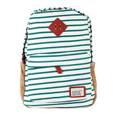 Damara Womens Suede Yoked Striped Canvas Backpack,Green