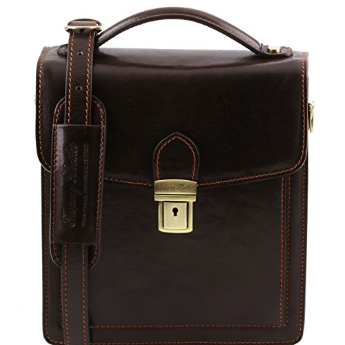 Tuscany Leather David Leather Crossbody Bag - Small Size Dark Brown Leather Bags For Men